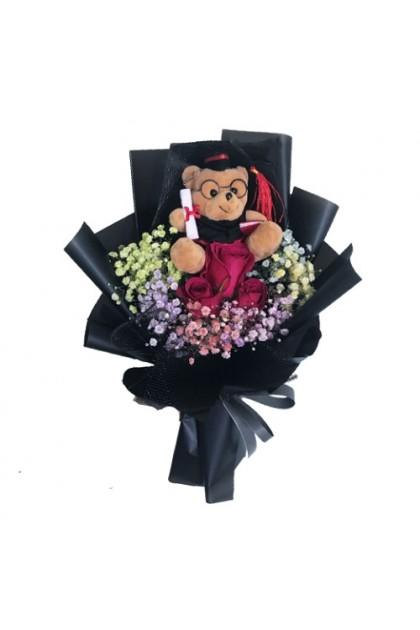CON115 Colorful Baby Breath Rose Graduation Bouquet