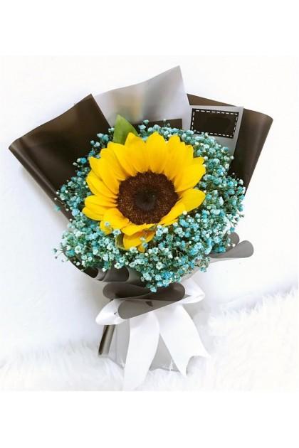 HB287 Sunflower Blue Baby Breath
