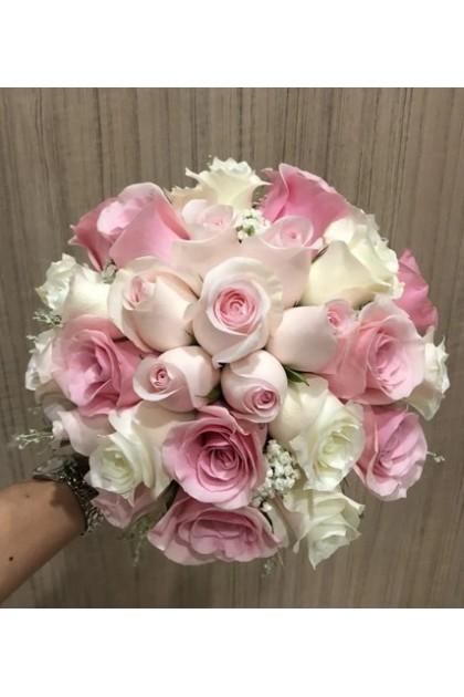 BB011 Pink White Rose Wedding Bouquet