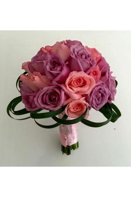 BB014 Pink Purple Rose Bridal Bouquet