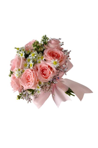 BB015 Pink Chamomile Bridal Bouquet