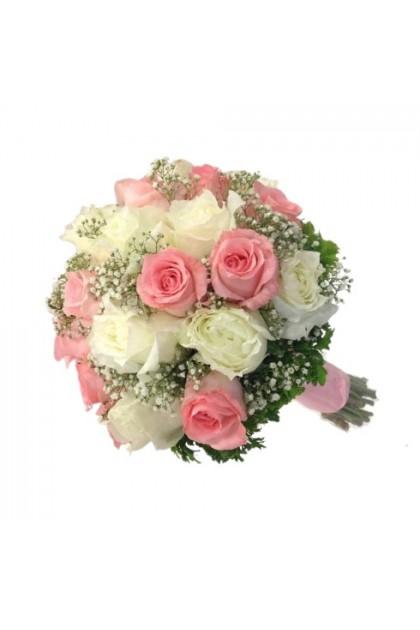 BB024 Pink White Rose Gypsophila