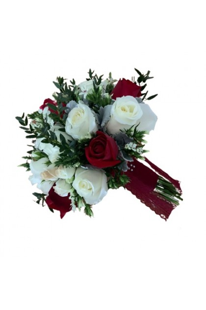 BB029 Red White Rustic Wedding Bouquet