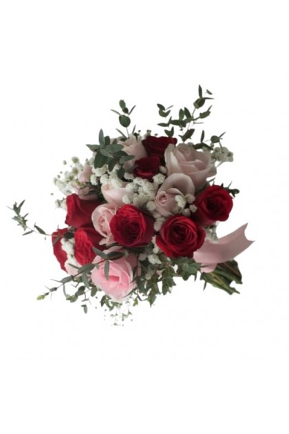 BB031 Red Pink Rose Bridal Bouquet