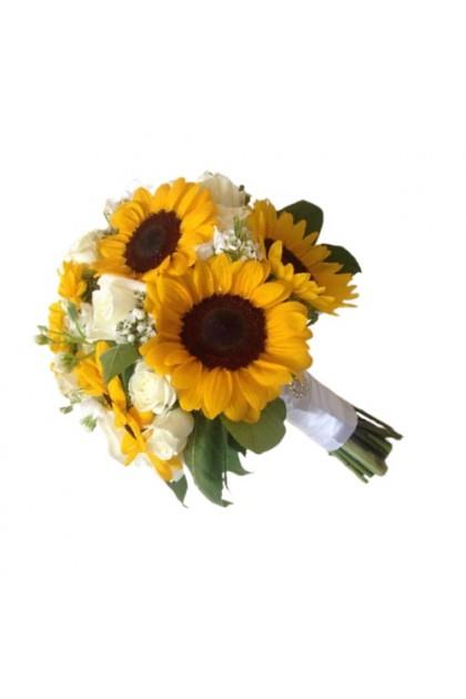 BB032 Sunflower White Rose Bridal Bouquet
