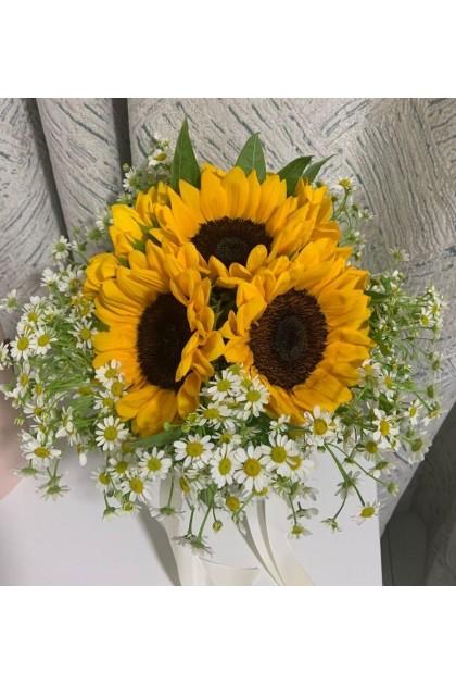 BB039 Sunflower Chamomile Bridal Bouquet