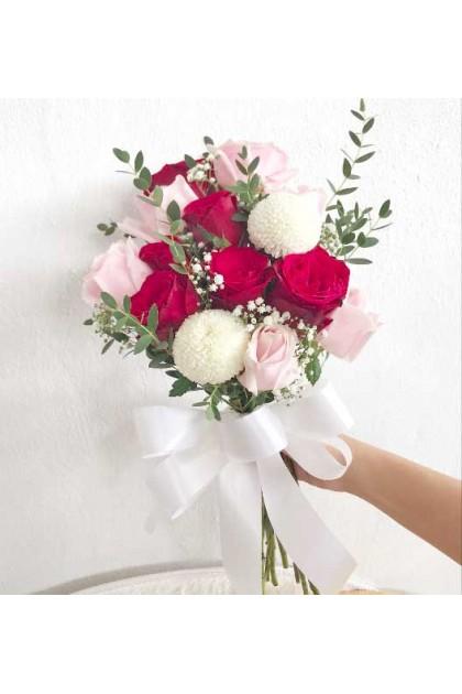 BB042 Pink Rose Rose Wedding Flower