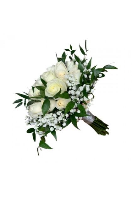 BB044 Rustic White Rose Bridal Bouquet