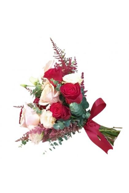 BB051 Red Pink Rose Wedding Flower