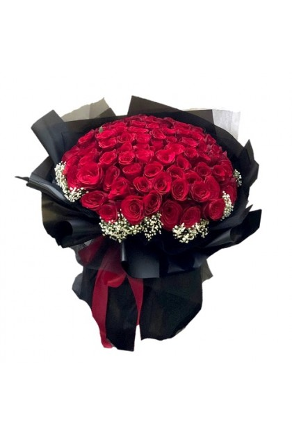 HB165 Red Rose Baby Breath