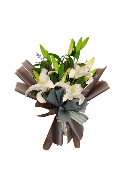 HB152 White Lily Bouquet