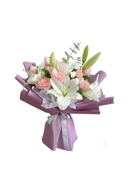 HB241 White Lily Pink Rose
