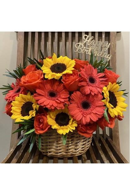 TFB003 Rose Daisy Sunflower Basket